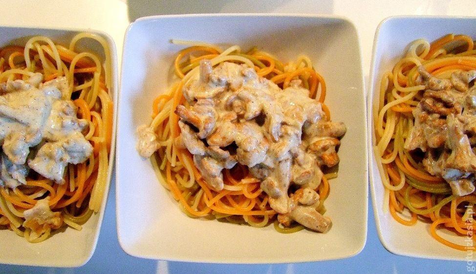 spaghetti z sosem kurkowym