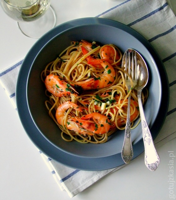 spaghetti z krewetkami 5