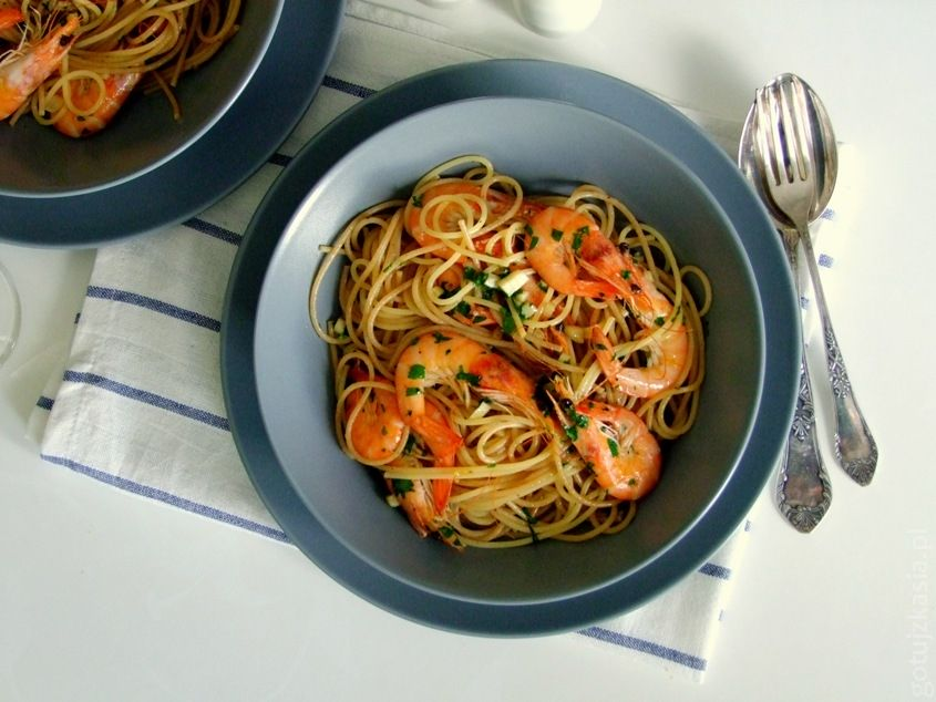 spaghetti z krewetkami 2